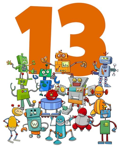 Ilustración de dibujos animados del número trece con el grupo de personajes de fantasía de robots divertidos Vector Premium