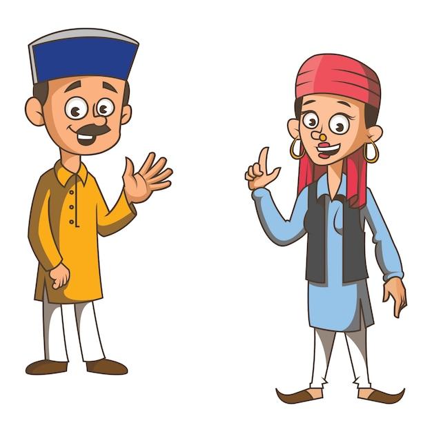 Ilustración de dibujos animados de la pareja de himachal pradesh. Vector Premium