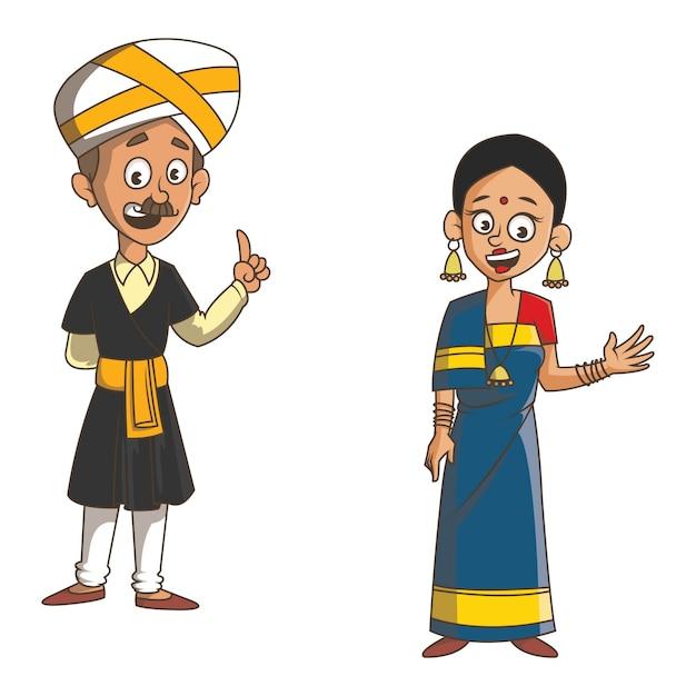 Ilustración de dibujos animados de la pareja de karnataka. Vector Premium