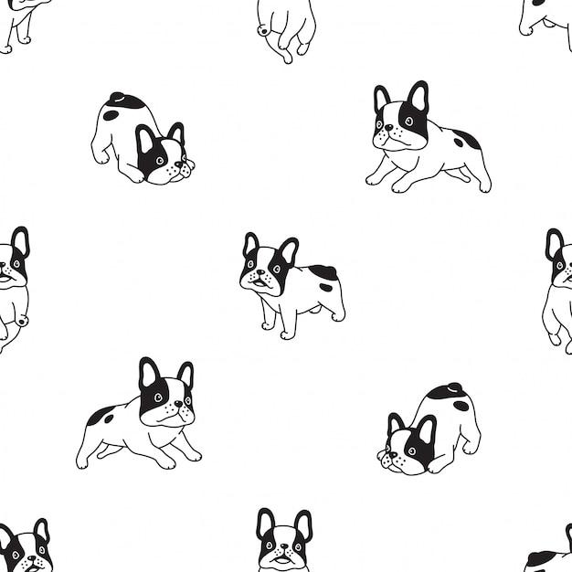 Ilustración de dibujos animados de perro bulldog francés de patrones sin fisuras Vector Premium