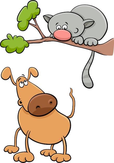 389fcbbd2f057 Ilustración de dibujos animados de perro y gato