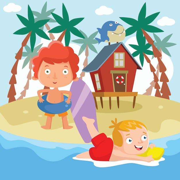 Ilustración De Dibujos Animados De Playa Para Niños Descargar