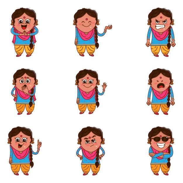 Ilustración de dibujos animados de punjabi woman set. Vector Premium