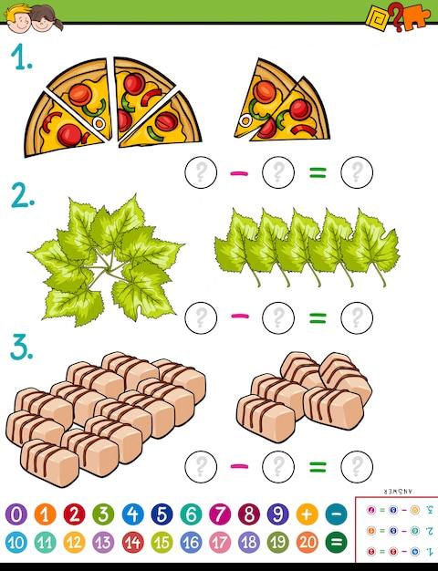 Ilustración de dibujos animados de la tarea de rompecabezas de la resta matemática educativa para niños con objetos Vector Premium
