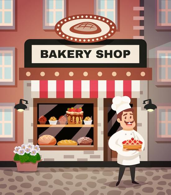 Ilustración de dibujos animados de la tienda de panadería vector gratuito