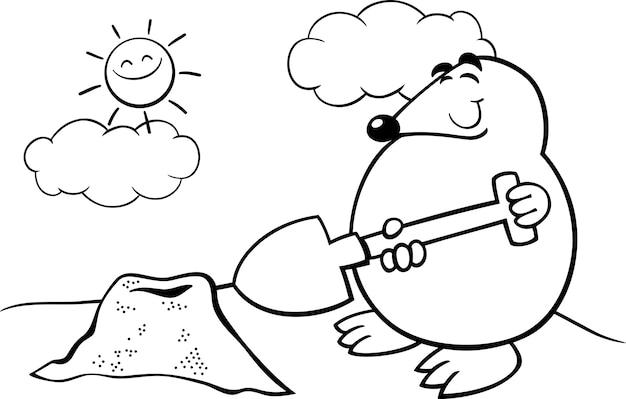 Ilustración de dibujos animados de topo para colorear   Descargar ...