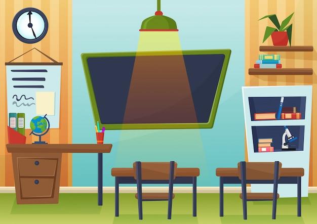 Ilustración de dibujos animados de vector de aula de la escuela vacía con pizarra y escritorios. Vector Premium