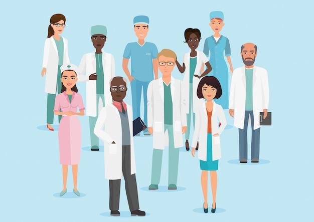 Ilustración de dibujos animados de vector de personal médico del hospital equipo médicos y enfermeras. Vector Premium
