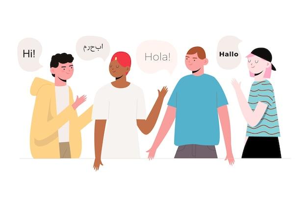 Ilustración de diferentes personas con burbujas de discurso vector gratuito