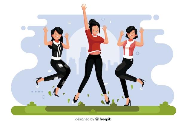 Ilustración de diferentes personas saltando juntas vector gratuito