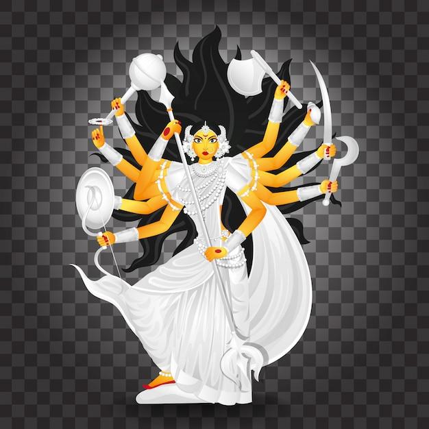 Ilustración de la diosa durga maa Vector Premium