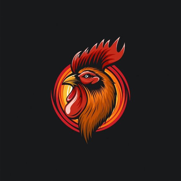 Ilustración de diseño de cabeza de gallo Vector Premium