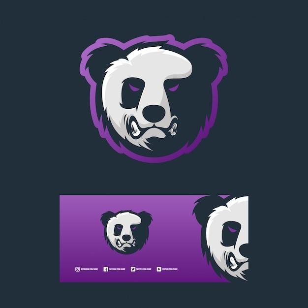 Ilustración de diseño de concepto de logotipo de panda enojado Vector Premium