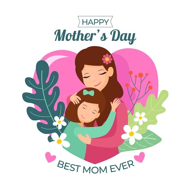 Ilustración con diseño del día de la madre Vector Premium