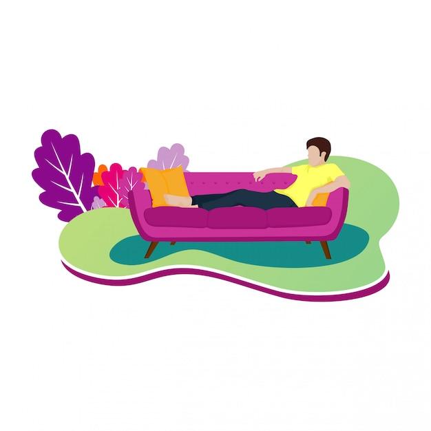 Ilustración de diseño de un hombre relajado en un sofá Vector Premium