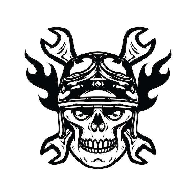 Ilustración de diseño de logotipo de vector de carretera de jinete de fantasma de cráneo Vector Premium