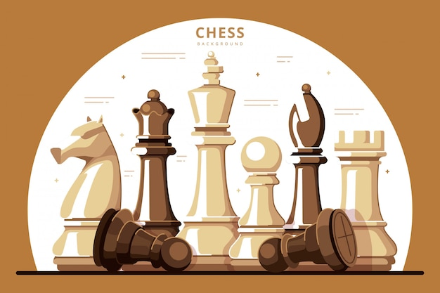 Ilustración de diseño plano de fondo de ajedrez Vector Premium