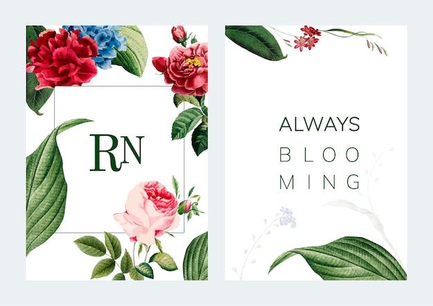 Ilustración de diseño de tarjeta de marco floral vector gratuito