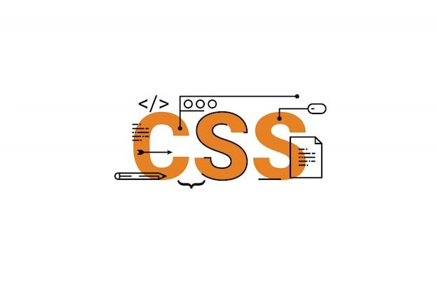 Ilustración de diseño de tipografía de letras de palabra css con iconos de línea y adornos en naranja Vector Premium