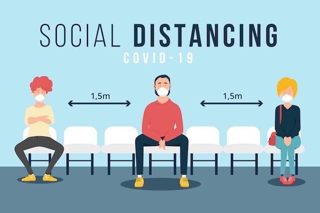 Ilustración de distanciamiento social Vector Premium