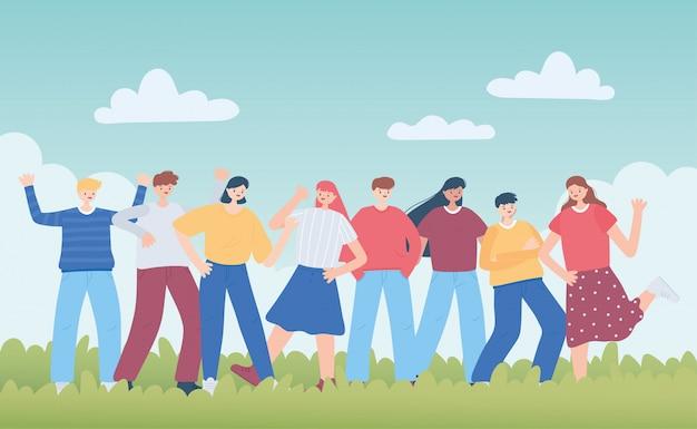 Ilustración diversa del grupo de personas amigo Vector Premium