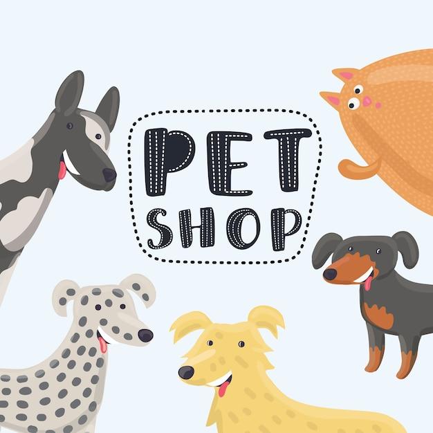 Ilustración divertida de dibujos animados de plantilla de diseño para tiendas de mascotas Vector Premium