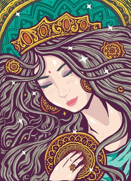 Ilustración divina femenina alma gemela Vector Premium