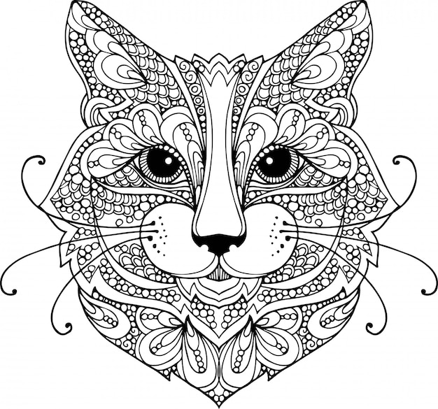 Ilustración de doodle de contorno dibujado a mano de una cabeza de gato decorada con adornos Vector Premium