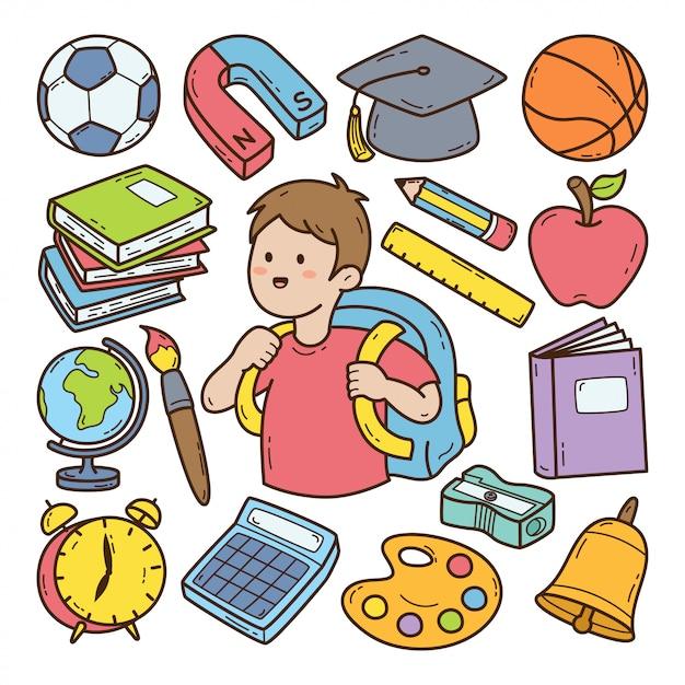 Ilustración de doodle dibujado a mano de regreso a la escuela Vector Premium
