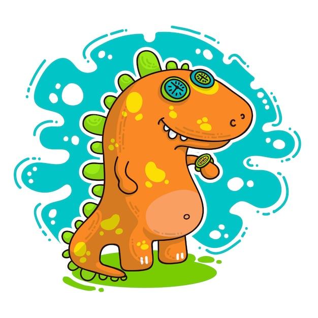 Ilustración de doodle dino fresco Vector Premium