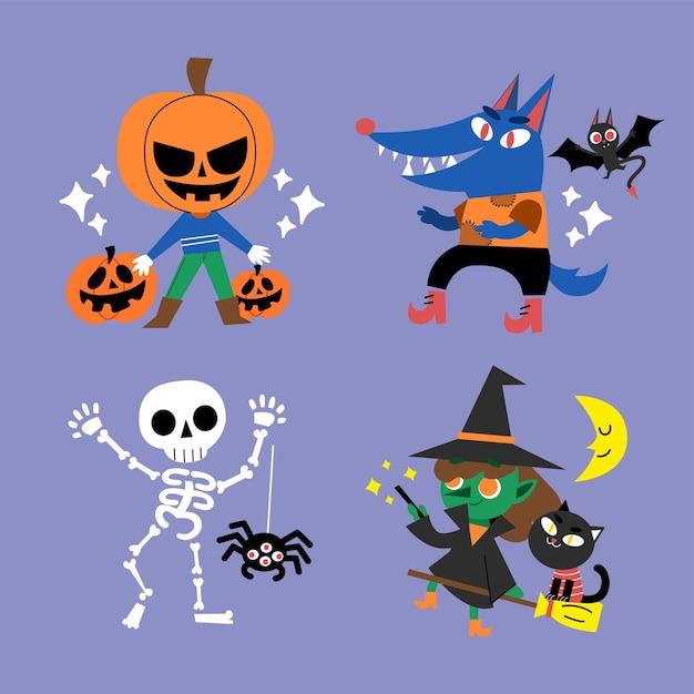 Ilustración de doodle de personaje de halloween espeluznante pero lindo Vector Premium