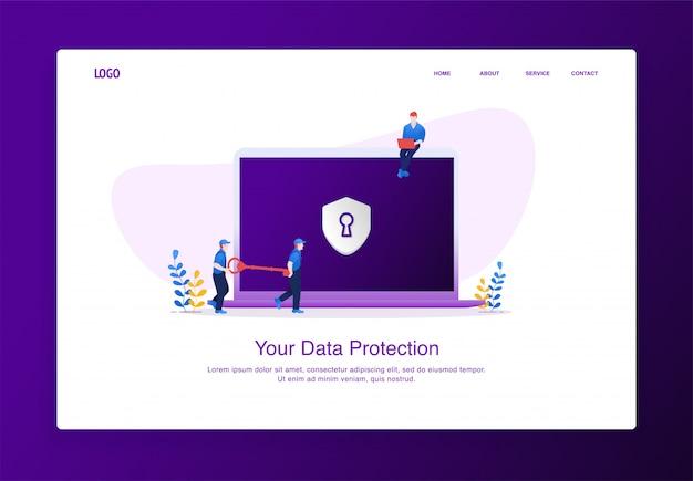 La ilustración de dos hombres lleva la llave para desbloquear la seguridad de datos en la computadora portátil. concepto de diseño plano moderno, plantilla de página de aterrizaje. Vector Premium