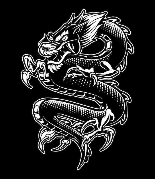 Ilustración de dragón japonés. monocromo, sobre fondo oscuro. Vector Premium