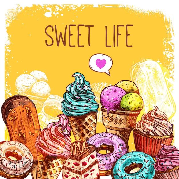 Ilustración dulce del bosquejo vector gratuito