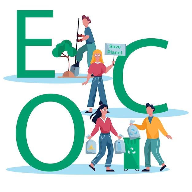 Ilustración de ecología y reciclaje. idea de protección del medio ambiente Vector Premium