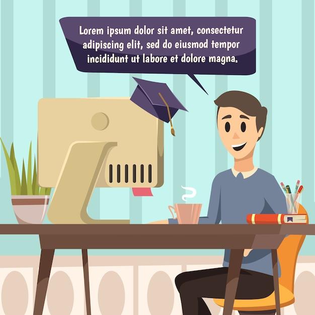 Ilustración de educación en línea vector gratuito