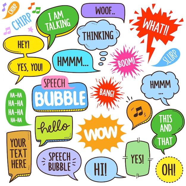 Ilustración de elementos de burbujas de discurso Vector Premium