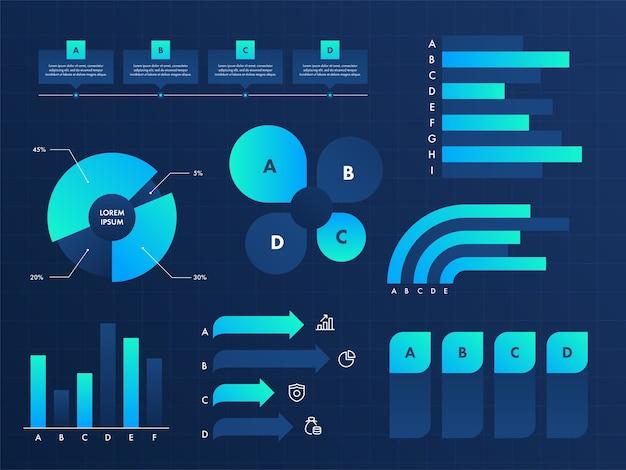 Ilustración de elementos de infografía empresarial Vector Premium