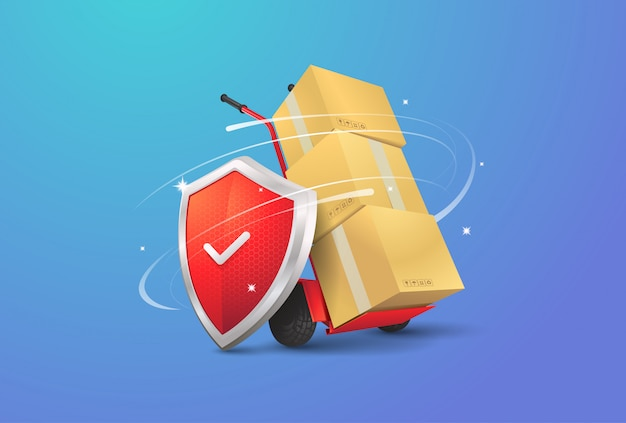 Ilustración de entrega segura Vector Premium