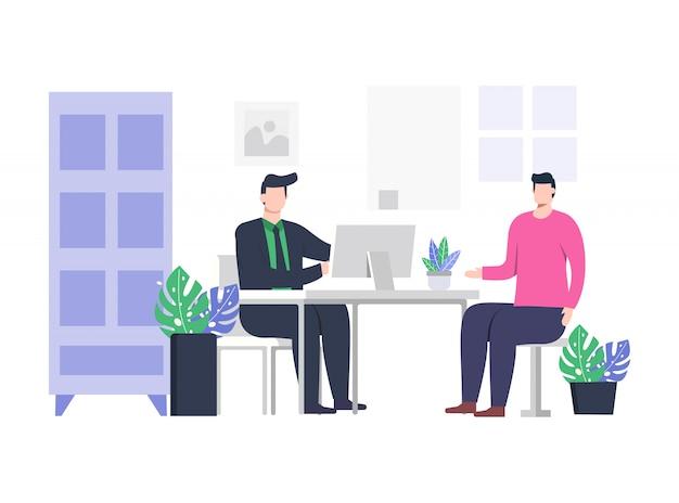 Ilustración de entrevista de trabajo de 2 personas. Vector Premium
