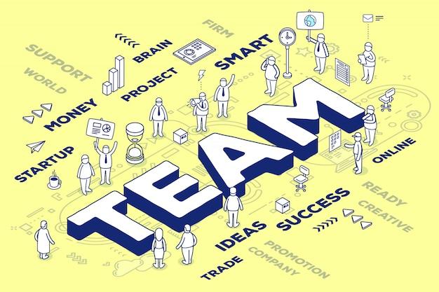 Ilustración del equipo tridimensional de la palabra con personas y etiquetas sobre fondo amarillo con esquema. Vector Premium