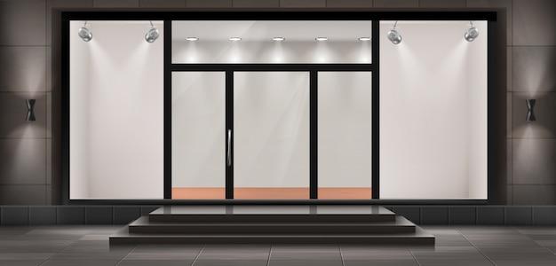 Ilustración de escaparate con escalones y puerta de entrada, vitrina iluminada. vector gratuito