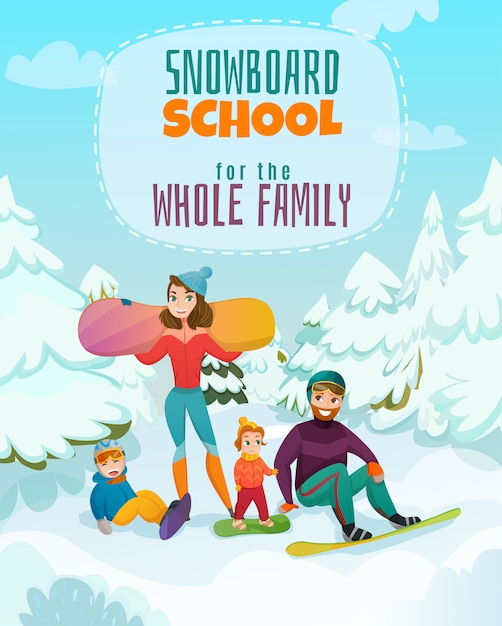 Ilustración de la escuela de snowboard vector gratuito