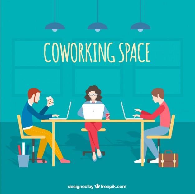 Ilustración de espacio de trabajo cooperativo Vector Premium