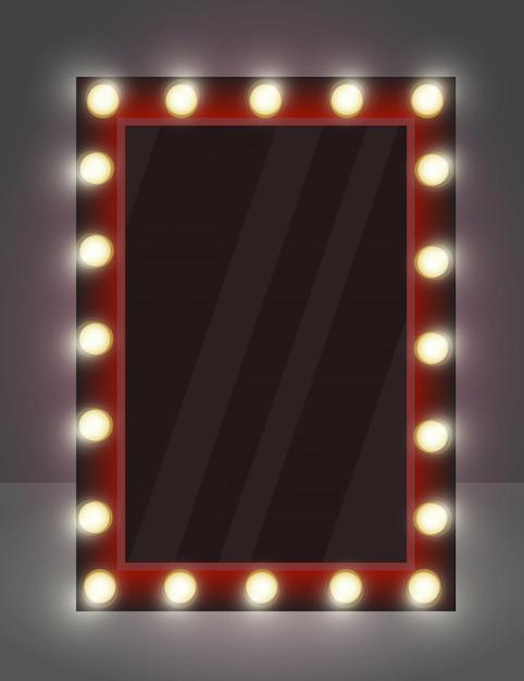 Ilustración de espejo realista para maquillaje con lámparas de iluminación. Vector Premium