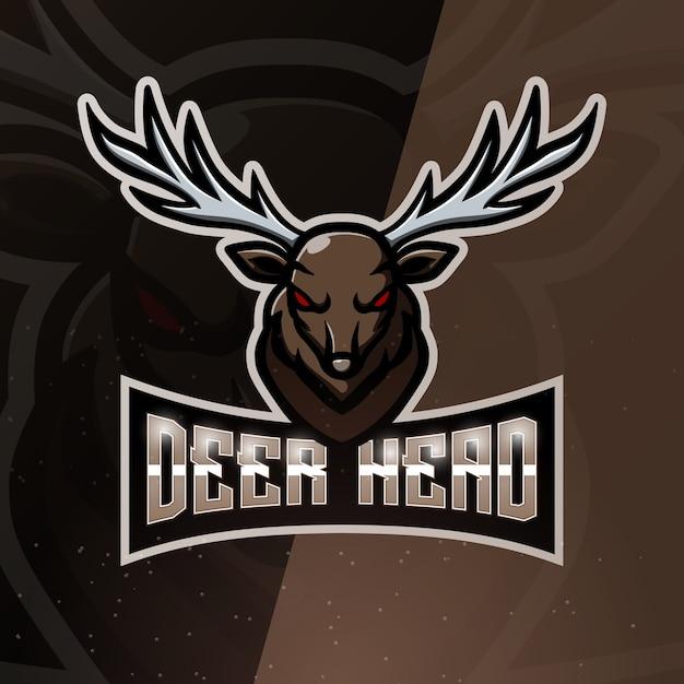 Ilustración de esport de mascota de cabeza de ciervo Vector Premium