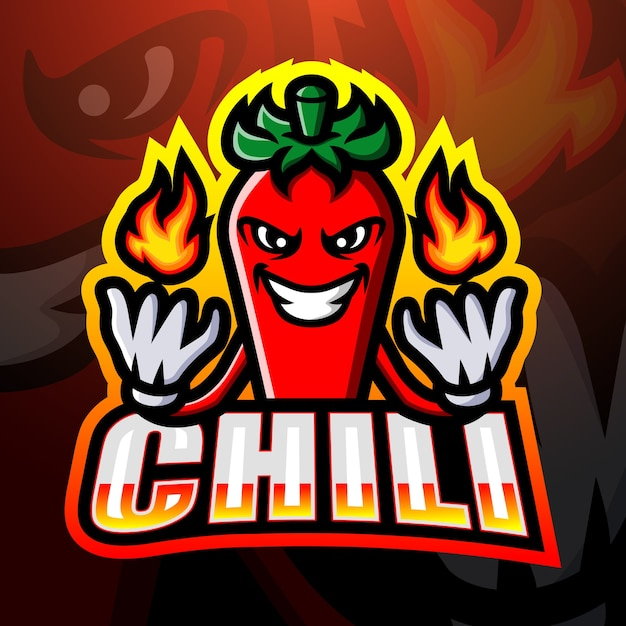 Ilustración de esport de mascota de chile Vector Premium