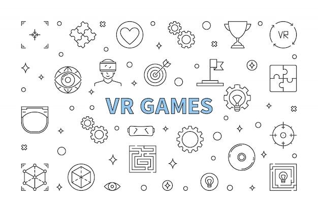 Ilustración de esquema horizontal de juegos de realidad virtual Vector Premium
