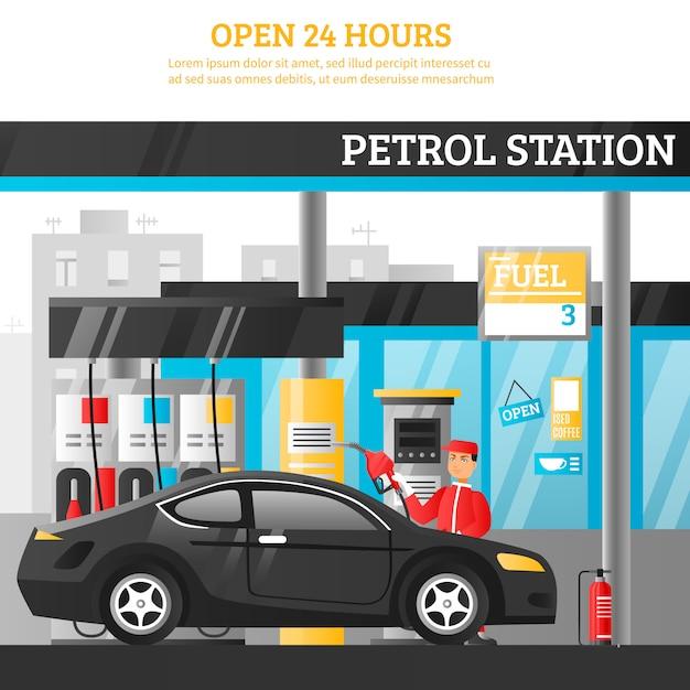 Ilustración de la estación de gasolina vector gratuito