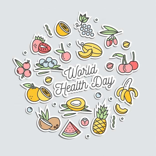 Ilustración en estilo lineal para las letras del día mundial de la salud y rodeado de alimentos de frutas. nutrición saludable y estilo de vida activo. Vector Premium
